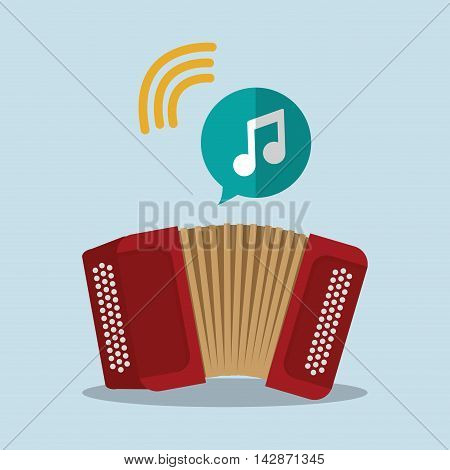 accordion music sound instrument icon. Flat and Colorful illustration. Vector illustration