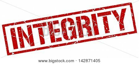 integrity stamp. red grunge square isolated sign