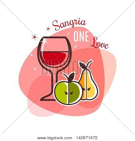 Isolated Restaurant Icon. Sangria and fruits emblem. Vector illustration