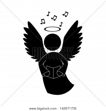 angel heaven singing musical instrument halo wing  vector  isolated illustration