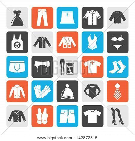 Silhouette Clothing and Fashion collection icons - vector icon set