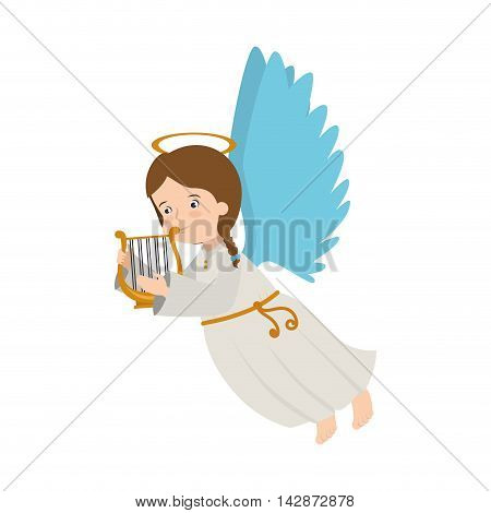 angel harp lyre play heaven musical instrument halo wing  vector  isolated illustration