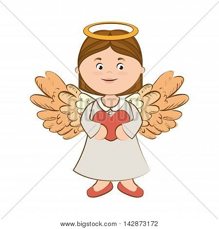 angel heart halo wing love vector  isolated illustration