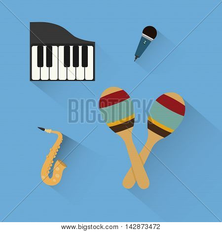 piano maraca saxophone microphone music sound instrument icon. Flat and Colorful illustration. Vector illustration