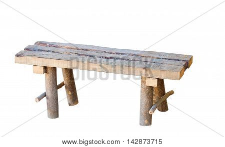 the old wooden bench on white background