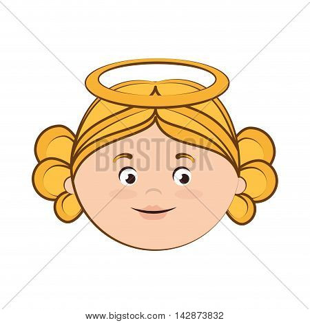 angel heaven halo wing girl cute cartoon vector  isolated illustration