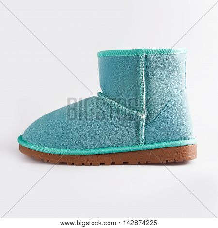 female blue Fashion winter boots over white