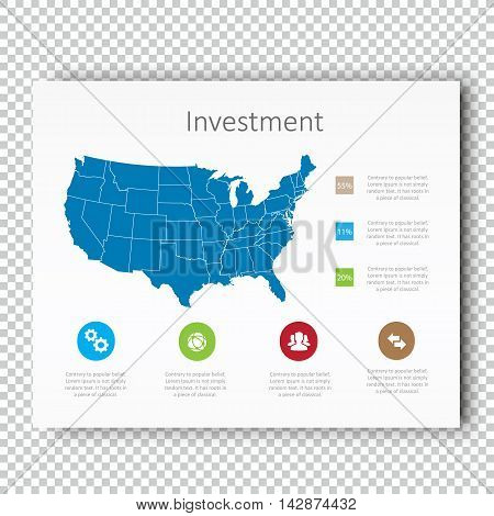 Infographic Investment USA Map Presentation Template, Business Layout design , Modern Style , Vector design illustration.