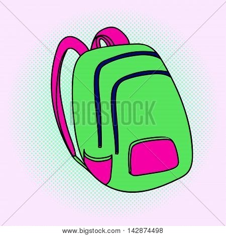 School bag pop art vector illustration. Beautiful style comic. Hand-drawn backpack