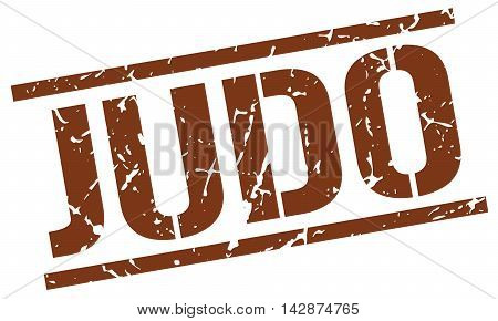 judo stamp. brown grunge square isolated sign