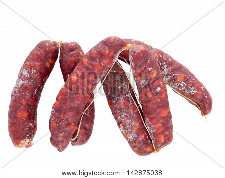 Asturias chorizo pork sausages isolated on white
