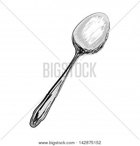 spoon utensil dining eat cutlery metal object  vector  isolated illustration