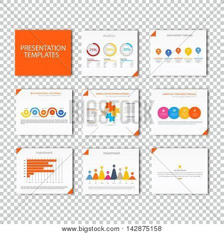 Multipurpose template for presentation slides with graphs and charts - orange color version. Perfect for your business report or personal use.