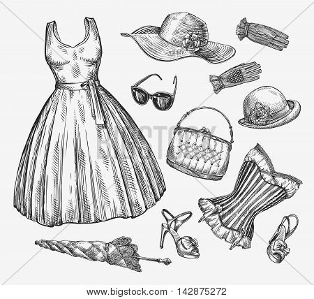 Fashion. Vector collection of women clothing. Hand drawn sketch umbrella, dress, sunglasses, corset, handbag, hat gloves shoes