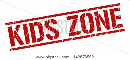 kids zone stamp. red grunge square isolated sign