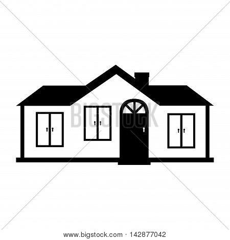 house modern suburban family home window door roof chimney  vector  isolated illustration