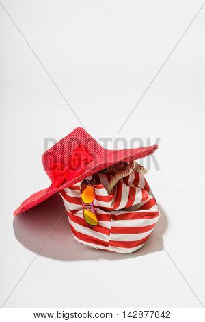 Summer Time - red bag, hat and sandals