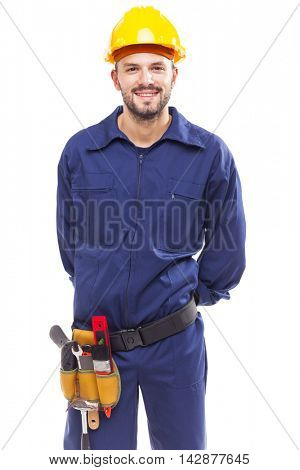 Contractor with arms crossed on white background