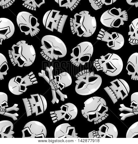 Skulls seamless pattern background. Scary skeleton craniums and crossbones halloween wallpaper