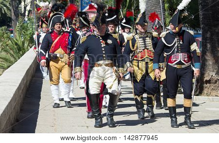 Ajaccio city Corsica island France-August 14 2016: The reenactors dressed as Napoleonic soldiers for celebration the Napoleon birthday who was born in Ajaccio.