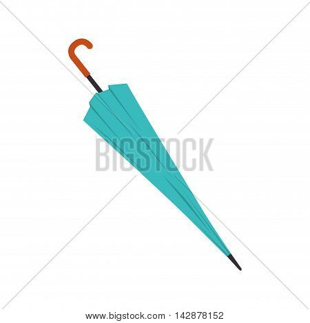 umbrella close parasol handle rain object accessory weather  blue vector  illustration isolated