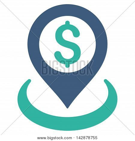 Dollar Placement icon. Vector style is bicolor flat iconic symbol with rounded angles, cobalt and cyan colors, white background.