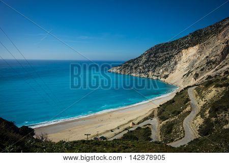 Picturesque Mirtos Beach On The Island Of Kefalonia, Greece