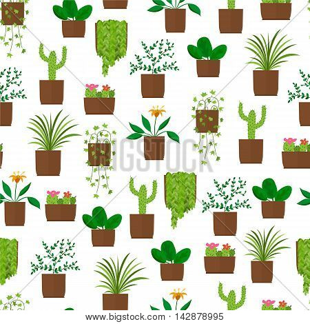 Houseplant seamless pattern. Flat style. Design flower Wallpaper. Blooming cactus. Green palm tree. Vector illustration.