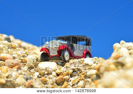 model of retro car on a sunny day