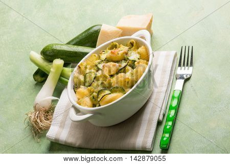 oven pasta with leek zucchinis and parmesan cheese