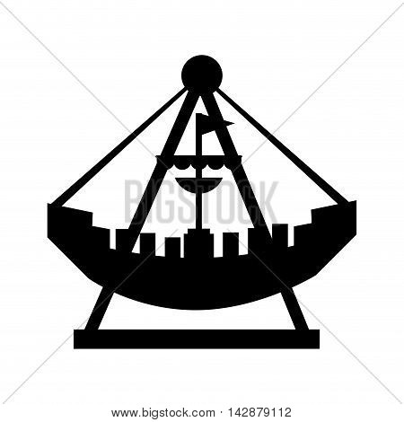 attraction ship pirate boat playground fair flag entretaiment fun vector  isolated illustration