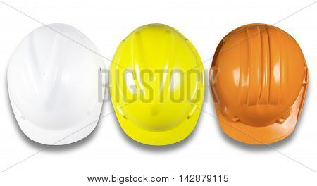 top view of hard hat White Yellow Orange safety construction protection helmet isolated