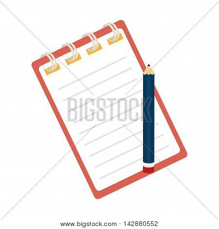 notebook pencil striped notes stationary page office tool utensil handwriting vector  isolated illustration