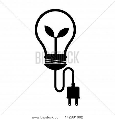 bulb plant green leaves plug light ecology ecological natural vector  isolated illustration