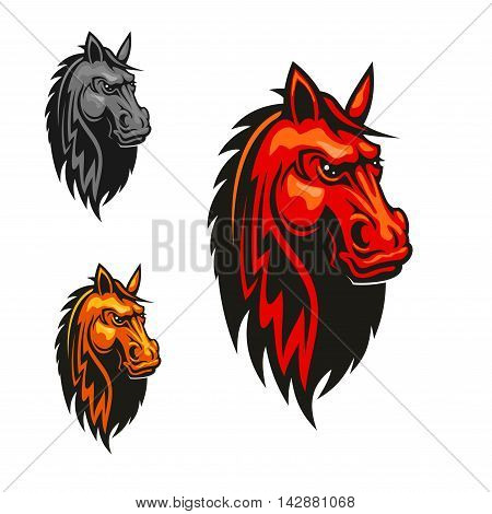 Horse stallion head heraldic emblem. Red, yellow, gray horses with mane. Vector icons for sport club emblem, team shield, badge, label, tattoo