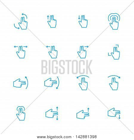 Touch Gesture Double Blue Line Icon and Sensory Blue Line Icons