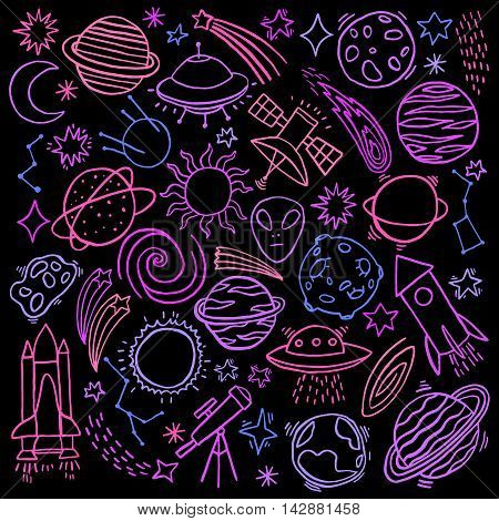 Cosmos space hand-drawn doodle set. Vector illustration