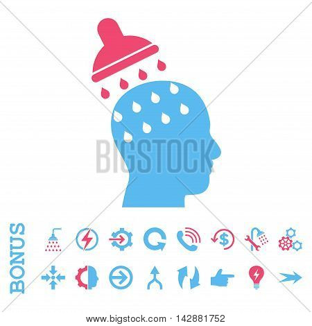Brain Washing vector bicolor icon. Image style is a flat iconic symbol, pink and blue colors, white background.