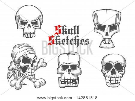 Skeleton skulls pencil sketch icons. Abstract shapes of cranium and crossbones for halloween cartoon, label, tattoo, t-shirt, placard, decoration, poster