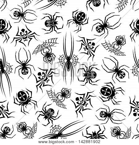 Black spiders seamless background. Wallpaper with vector pattern icons of tarantula, spider web. Halloween decoration