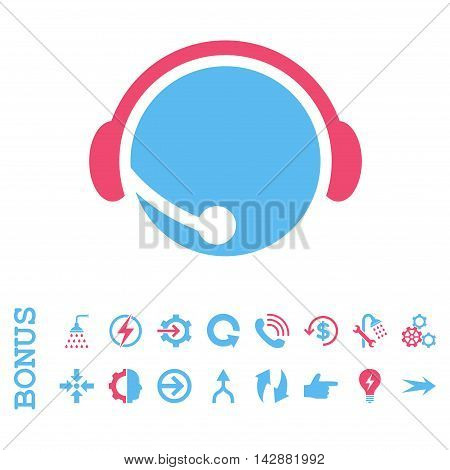 Call Center Operator vector bicolor icon. Image style is a flat pictogram symbol, pink and blue colors, white background.