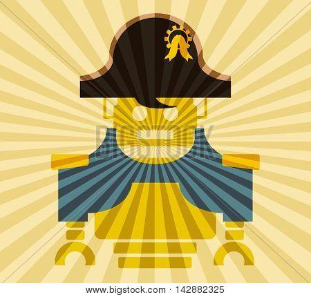 Cute vintage robot. Robotics industry relative image. Napoleon Bonaparte cartoon character. Sun rays backdrop