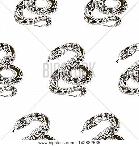 Seamles pattern. Vector flat Illustration of snake. Ethnic style.