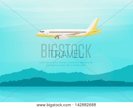 Airplane flies in the sky. Side view. Airliner. White airplane. Fast jet. Cartoon vector illustration. Cloudy day.