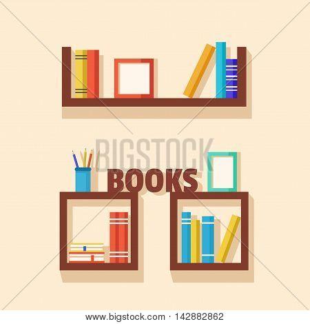 Set of bookshelves. Vector flat illustration. Books on wooden bookshelf. Addition to the interior