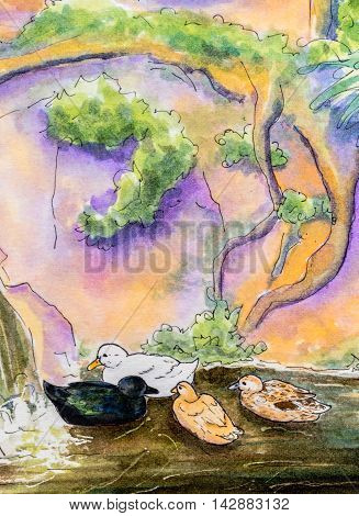 Original watercolor painting of four ducks swimming on water near a waterfall.