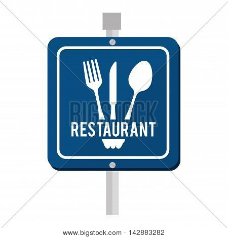 sign road restaurant fork knife fork food vector  isolated and flat illustration