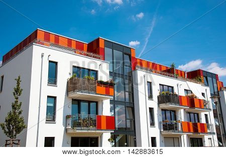 Modern multi-family house seen in Berlin, Germany
