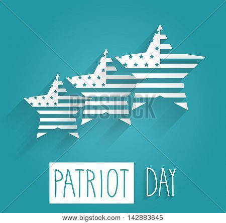 Patriot Day poster. Blue background with handwritten text. Vector illustration.