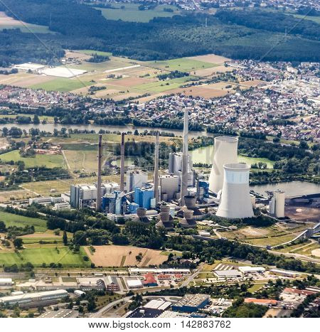 Aerial Of Gross-krotzenburg Power Station